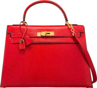 Hermes 32cm Rouge Vif Salvator Lizard Sellier Kelly Bag with Gold Hardware N Circle, 1984 Good to