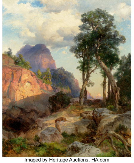 Thomas Moran (American, 1837-1926)Mountain Lion in Grand Canyon (Lair of the Mountain Lion), 1914Oil on canvas30 x...