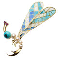 Estate Jewelry:Brooches - Pins, Ruby, Turquoise, Cultured Pearl, Plique-à-Jour Enamel, Gold Brooch....