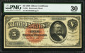 Large Size:Silver Certificates, Fr. 261 $5 1886 Silver Certificate PMG Very Fine 30.. ...