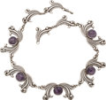 Silver Smalls, A Mexican Silver and Amethyst Necklace, circa 1930-1948. Marks:STERLING, MADE IN MEXICO. 17 inches long (43.2 cm). ...