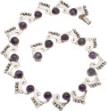 Silver Smalls, A Mexican Silver and Amethyst Necklace, circa 1930-1948. Marks:JE, 925, MADE IN MEXICO. 15-3/4 inches long (40.0 cm...