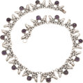 Silver Smalls, A Mexican Silver and Amethyst Necklace, circa 1930-1948. Marks:TAXCO, 980. 15-3/4 inches long (40.0 cm). 1.27 troy ...