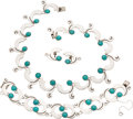 Silver Smalls, A Four-Piece Mexican Silver and Turquoise Necklace, Bracelet andEarring Jewelry Suite, circa 1930-1948. Marks: (eagle),... (Total:3 Items)