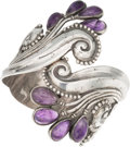 Silver Smalls, A Margot de Taxco Mexican Silver and Amethyst Cuff, Taxco, circa1955-1978. Marks: MARGOT DE TAXCO, STERLING, MADE IN MEXI...