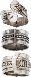 Silver Smalls, Three Margot de Taxco Mexican Silver Hinged Cuffs, Taxco, circa1955-1978. Marks: MARGOT DE TAXCO, STERLING, MADE IN MEXIC...(Total: 3 Items)