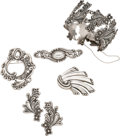 Silver Smalls, Six-Pieces of Margot de Taxco Mexican Silver Jewelry, Taxco, circa1948-1978. 7-3/4 inches circumference (19.7 cm) (bracelet...(Total: 6 Items)