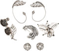 Silver Smalls, Six-Pieces of Hector Aguilar Mexican Silver Jewelry and a LosCastillo Brooch, Taxco, circa 1940-1962. Marks: HA(conjoi... (Total: 7 Items)