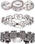 Silver Smalls, Three Hector Aguilar Mexican Silver Bracelets, Taxco, circa1940-1955. Marks to largest: HA, STERLING, MADE IN MEXICO,TAX... (Total: 3 Items)