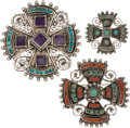 Silver Smalls, Three Matilde Poulat and Ricardo Salas Mexican Silver and HardstoneBrooches, Mexico City, circa 1955 and post-1980. Marks: ... (Total:3 Items)