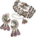 Silver Smalls, A Three-Piece Group of Matilde Poulat and Ricardo Salas MexicanSilver and Hardstone Jewelry, Mexico City, post-1978. Marks ...(Total: 3 Items)