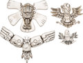 Silver Smalls, A Group of Four William Spratling for Silson Inc. Silver-PlatedBrooches, Taxco, circa 1940-1945. Marks: WS, SPRATLING OF ...(Total: 4 Items)