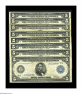 Large Size:Group Lots, Eight Five Dollar Feds From Eight Different Districts. Fr. 847b Boston, Fr. 851a New York, Fr. 855a Philadelphia, Fr. 859a C... (Total: 8 notes)