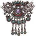 Silver Smalls, A Ricardo Salas Mexican Silver and Hardstone Brooch, Mexico City,post-1980. Marks: Matl, Salas, MEXICO, 925. 2-7/8 inch...