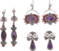 Silver Smalls, Three Pairs of Ricardo Salas Mexican Silver and Hardstone Earrings,Mexico City, post-1980. Marks: Matl, MEXICO, 925, MS-1...(Total: 6 Items)