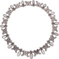 Silver Smalls, An Antonio Pineda Mexican Silver and Moonstone Necklace, Taxco,circa 1953-1970. Marks: (Antonio-crown), STERLING,MEXICO,...