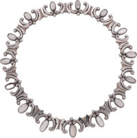 An Antonio Pineda Mexican Silver and Moonstone Necklace, Taxco, circa 1953-1970 Marks: (Antonio-crown), STERLIN