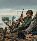 , Mort Künstler (American, b. 1931). D-Day, 1960. Mixed mediaon board. 19 x 17 inches (48.3 x 43.2 cm) (sheet). Signed lo...
