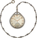 Timepieces:Pocket (post 1900), Patek Philippe Platinum & Diamond Watch With Gold Chain, circa1923. ...