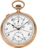 Timepieces:Pocket (post 1900), Agassiz Fine Gold Split Seconds Chronograph With Register, circa1905. ...