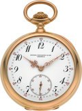 Timepieces:Pocket (post 1900), Patek Philippe & Cie Rare & Very Fine Gold Trip Minute Repeater, Two Train Tandem Wind Pocket Watch, circa 1901. ...