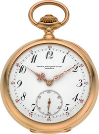 Patek Philippe & Cie Rare & Very Fine Gold Trip Minute Repeater, Two Train Tandem Wind Pocket Watch, cir...
