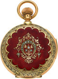 Timepieces:Pocket (post 1900), Swiss Very Rare Small Gold Minute Repeating Hunters Case With Enamel & Diamonds, circa 1905. ...