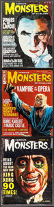 "Movie Posters:Horror, Famous Monsters of Filmland (Central Publications, 1962-1967).Magazines (3) (Multiple Pages, 8.25"" X 11""). Horror.. ... (Total: 3Items)"
