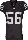 Football Collectibles:Uniforms, 2014 Miles Burris Game Worn, Unwashed Oakland Raiders Jersey - Worn 9/28 vs. Dolphins in London....