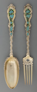 Silver Flatware, American:Whiting, Two Whiting Mfg. Co. Partial Gilt Silver and Enamel DessertServers, New York, circa 1890. Marks: (W-griffin),STERLING... (Total: 2 Items)