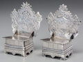 Silver Holloware, Continental:Holloware, A Near Pair of Russian Throne-Form Salts, circa 1884. Marks:(BП/1884), 84, (Moscow mark), CHA . 3-5/8 inches high(... (Total: 2 Items)