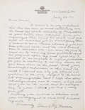Football Collectibles:Others, 1947 Glenn Pop Warner Handwritten, Signed Letter - To Founder of Pop Warner Football League! ...