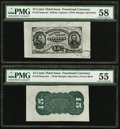 Fr. 1272SP 15¢ Third Issue Wide Margin Back PMG About Uncirculated 55; Fr. 1274SP 15¢ Third Issue Wide Margin...