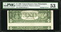 Error Notes:Miscellaneous Errors, Fr. 1924-C $1 1999 Federal Reserve Note. PMG About Uncirculated 53.. ...