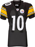 Football Collectibles:Uniforms, 2006 Santonio Holmes Game Worn, Signed Pittsburgh Steelers Rookie Jersey - With Two Repairs!...