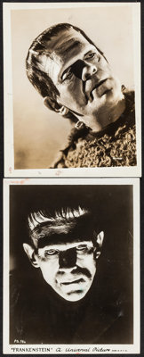"Boris Karloff in Frankenstein & Other Lot (Universal, 1931). Portrait Photos (2) (8"" X 10.25""). Horror..."