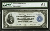 Fr. 747 $2 1918 Fancy Serial Number Federal Reserve Bank Note PMG Choice Uncirculated 64