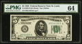 Fr. 1950-H $5 1928 Federal Reserve Note. PMG Choice Uncirculated 64
