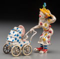 Silver Smalls, A Three-Piece Tiffany & Co. Silver and Enamel Circus ClownMother and Baby in Carriage, Designed by Gene Moore, New York,Ne... (Total: 3 Items)