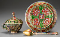 A Fine Mughal-Style 18K Gold, Diamond and Enamel Covered Cup and Saucer Set, 20th century 6 inches (15.2 cm) (sauc