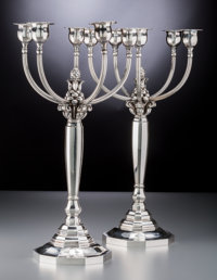 A Pair of Georg Jensen Silver Five-Light Candelabra, Designed by Johan Rohde, Copenhagen, circa 1945-1977<