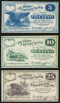 Obsoletes By State:Ohio, Cuyahoga Falls, OH- W.A. Hanford at Summit County Bank 5¢; 10¢; 25¢1862. ... (Total: 3 notes)
