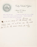 """Baseball Collectibles:Others, Circa 1905 Adrian """"Cap"""" Anson Signed Typed Letter with Initialed Handwritten Note, PSA/DNA NM-MT 8...."""