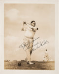 Baseball Collectibles:Photos, 1940's Babe Ruth Signed Photograph - The Babe Hits the Links. ...