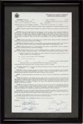 Boxing Collectibles:Memorabilia, 1984 Mike Tyson First Boxer-Manager Contract Signed by Tyson, Jimmy Jacobs & Jose Torres....