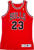 """Basketball Collectibles:Uniforms, 1996-97 Michael Jordan Signed """"Upper Deck Authenticated"""" Jersey...."""