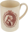 "Political:3D & Other Display (pre-1896), George Washington: A Very Rare Liverpool Creamware Tankard HonoringHim as ""The President of the United States.""..."