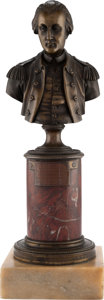 Political:3D & Other Display (pre-1896), George Washington: A Superb Early Bronze Bust, Probably circa 1780s- 1790s....