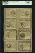 Colonial Notes:Continental Congress Issues, Continental Currency September 26, 1778$60-$50-$40-$30/$20-$8-$7-$5 Partial Sheet Blue CounterfeitDetector Notes PCGS Choice...