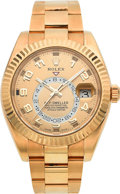 Timepieces:Wristwatch, Rolex Ref. 326938 Gold Sky-Dweller Annual Calendar Dual Time Zone Wristwatch. ...